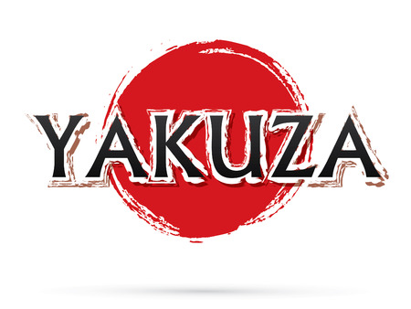 Yakuza text, graphic vector. On grunge cycle background. Vettoriali