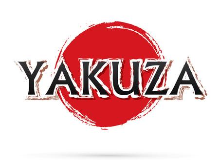 Yakuza text, graphic vector. On grunge cycle background. Stock Illustratie