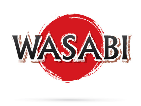 wasabi: Wasabi text, graphic vector. On grunge cycle background.