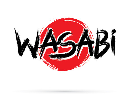 Wasabi  text, graphic vector. On grunge cycle background. Illustration