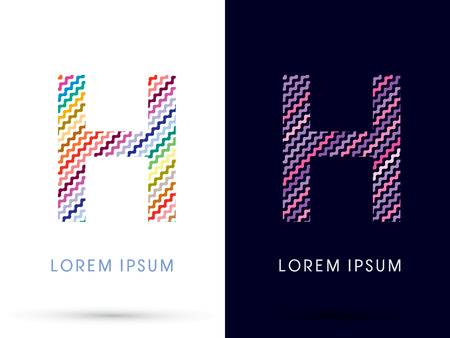 h: H ,Colorful font designed using zigzag line, graphic vector.