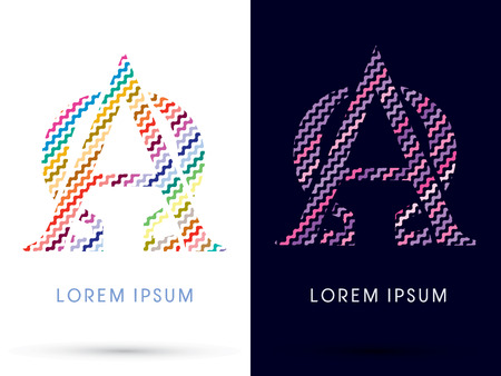 alpha: Alpha and Omega ,Colorful font designed using zigzag line, graphic vector.