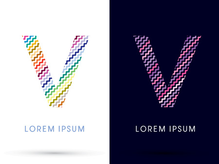 v shape: V ,Colorful font designed using zigzag line, graphic vector.