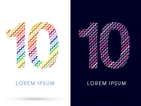 10 ,Colorful font designed using zigzag line, graphic vector.