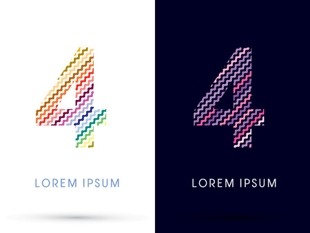 4 color printing: 4 ,Colorful font designed using zigzag line, graphic vector.