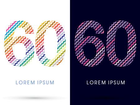 60: 60 ,Colorful font designed using zigzag line, graphic vector. Illustration