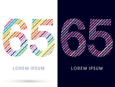 65: 65 ,Colorful font designed using zigzag line, graphic vector.