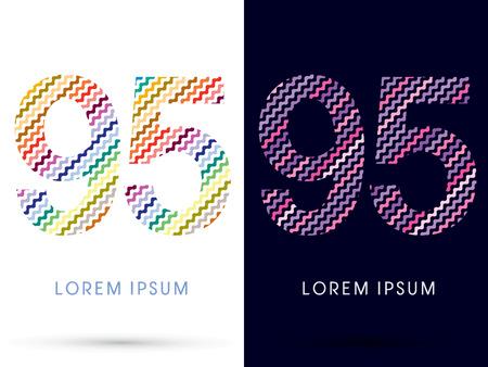 95: 95 ,Colorful font designed using zigzag line, graphic vector. Vettoriali