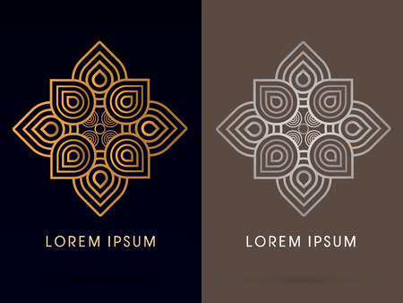 Outline Abstract, luxury Lotus , graphic vector. Stock Illustratie