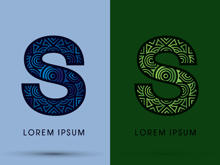 water s: S , Abstract, font, concept filigree, floral, natural, water and leaf graphic, vector. Illustration