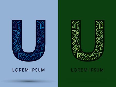 U , Abstract, font, concept filigree, floral, natural, water and leaf graphic, vector.