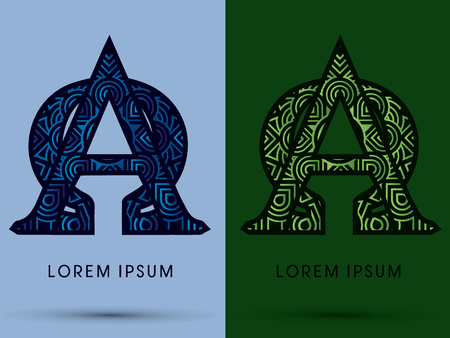 alpha: Alpha and Omega ,Abstract, font, concept filigree, floral, natural, water and leaf graphic, vector. Illustration