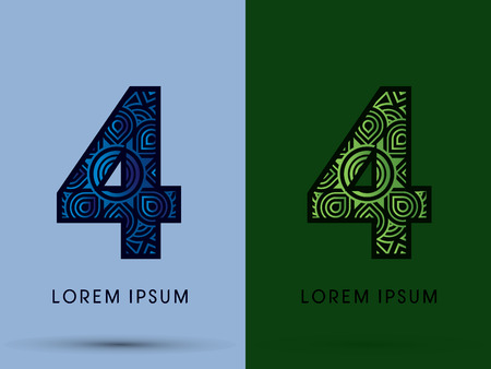 venation: 4 ,Number , Abstract, font, concept filigree, floral, natural, water and leaf graphic, vector.