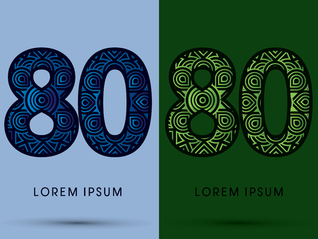 venation: 80 ,Number , Abstract, font, concept filigree, floral, natural, water and leaf graphic, vector.