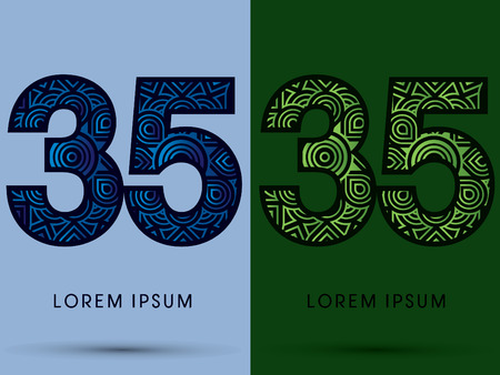 venation: 35 ,Number , Abstract, font, concept filigree, floral, natural, water and leaf graphic, vector.