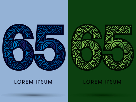 venation: 65 ,Number , Abstract, font, concept filigree, floral, natural, water and leaf graphic, vector.