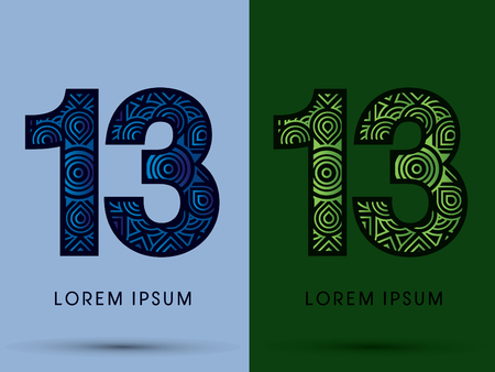 number 13: 13 ,Number , Abstract, font, concept filigree, floral, natural, water and leaf graphic, vector.