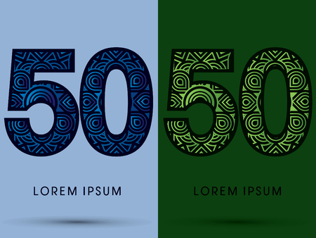 venation: 50 ,Number , Abstract, font, concept filigree, floral, natural, water and leaf graphic, vector. Illustration