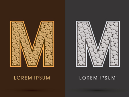 M ,Abstract Font, Text, Typography, concept  luxury gold and silver pattern, graphic vector