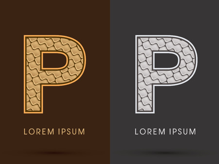 p buildings: P ,Abstract Font, Text, Typography, concept  luxury gold and silver pattern, graphic vector