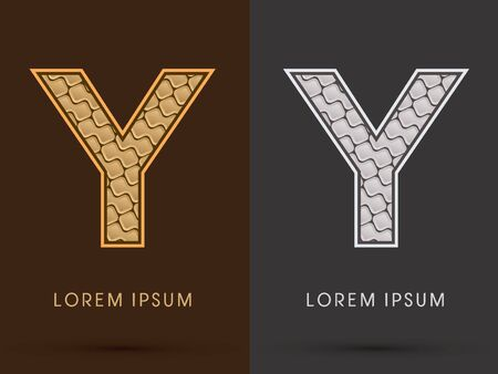 y ornament: Y ,Abstract Font, Text, Typography, concept  luxury gold and silver pattern, graphic vector