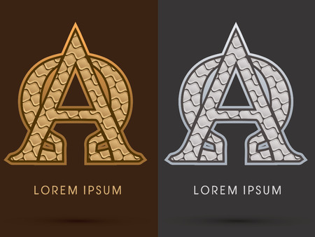 gold ornaments: Alpha and omega  ,Abstract Font, Text, Typography, concept  luxury gold and silver pattern, graphic vector Illustration