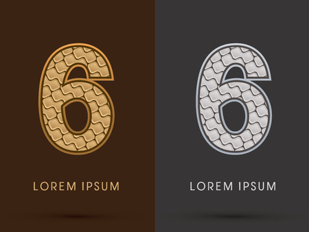sixth birthday: 6 ,Abstract Font, Text, Typography, concept  luxury gold and silver pattern, graphic vector