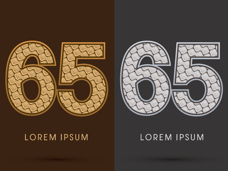 65: 65 ,Abstract Font, Text, Typography, concept  luxury gold and silver pattern, graphic vector