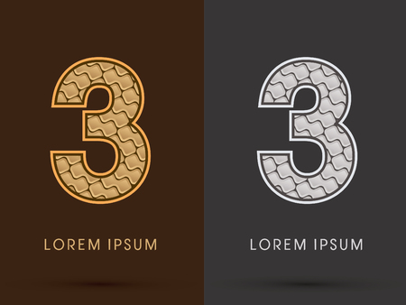 third birthday: 3 ,Abstract Font, Text, Typography, concept  luxury gold and silver pattern, graphic vector