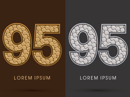 95: 95 ,Abstract Font, Text, Typography, concept  luxury gold and silver pattern, graphic vector