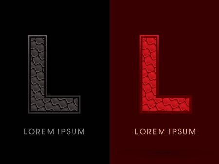 l red: L ,Abstract Font, Text, Typography, concept luxury hot and dark, red and black, pattern, graphic vector.