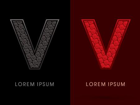 rojo oscuro: V, resumen de fuente, texto, tipograf�a, patr�n caliente y oscuro, rojo y negro, el concepto de lujo, gr�fico de vector.