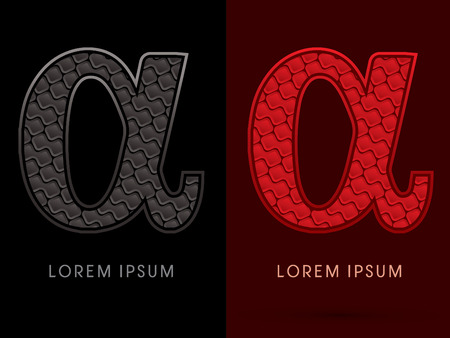 alpha: Alpha ,Abstract Font, Text, Typography, concept luxury hot and dark, red and black, pattern, graphic vector.