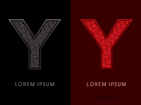 y ornament: Y ,Abstract Font, Text, Typography, concept luxury hot and dark, red and black, pattern, graphic vector.