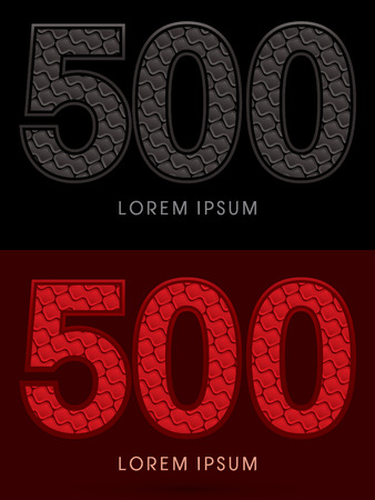 500 ,Abstract Font, Text, Typography, concept luxury hot and dark, red and black, pattern, graphic vector.