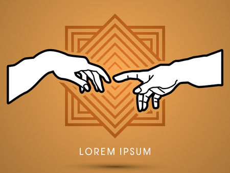 God and Adams hands , designed on geometric line square background, graphic vector. Illustration