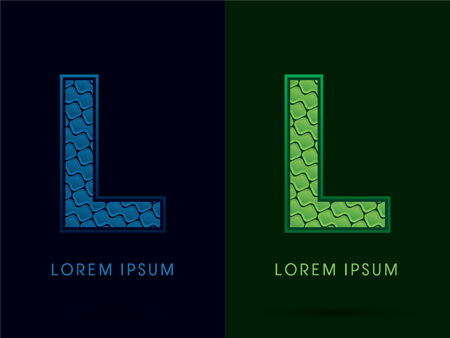 l natural: L , Abstract Font, Text, Typography, concept luxury natural blue