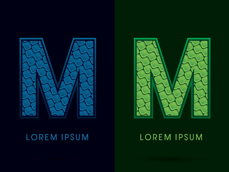 M , Abstract Font, Text, Typography, concept luxury natural blue and green, pattern, graphic vector