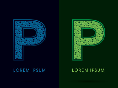 p buildings: P , Abstract Font, Text, Typography, concept luxury natural blue and green
