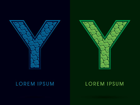 y ornament: Y , Abstract Font, Text, Typography, concept luxury natural blue and green, pattern, graphic vector