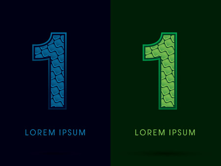 one year old: 1 , Abstract Font, Text, Typography, concept luxury natural blue and green, pattern, graphic vector Vectores