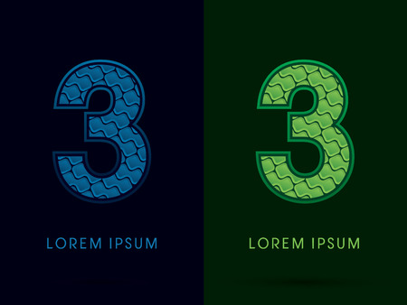 third birthday: 3 , Abstract Font, Text, Typography, concept luxury natural blue and green, pattern, graphic vector