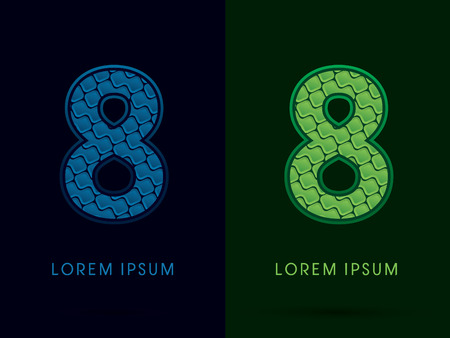 eight year old: 8 , Abstract Font, Text, Typography, concept luxury natural blue and green, pattern, graphic vector