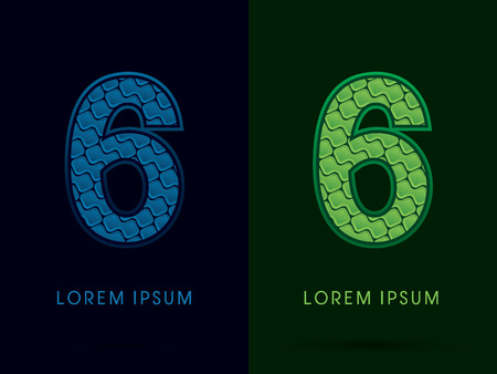 6, Abstract Font, Text, Typography, concept luxury natural blue and green, pattern, graphic vector Illustration