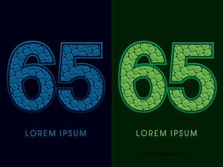 65 years old: 65, Abstract Font, Text, Typography, concept luxury natural blue and green, pattern, graphic vector