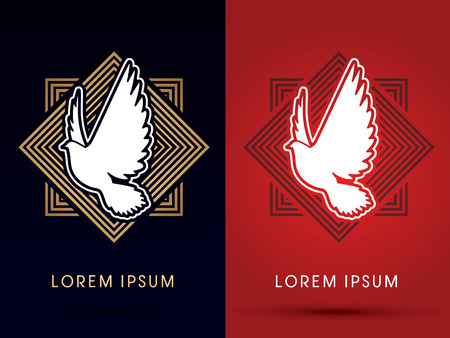 radius: Pigeon, Dove fly, on square line radius background Illustration