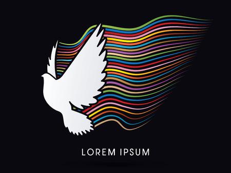 holy symbol: Pigeon, mosca de la paloma, el Esp�ritu y la esperanza, signo, gr�fico de vector.