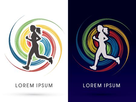 young female: Woman running, on spin cycle background ,graphic vector