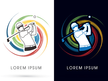 sport icon: Man swinging golf , Golf players ,Club, on spin background, graphic vector Illustration