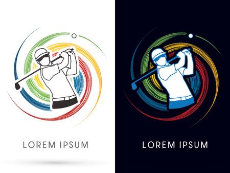 symbol sport: Mann schwingt Golf, Golfspieler, Club, auf Spin-Hintergrund, Vektor-Grafik-